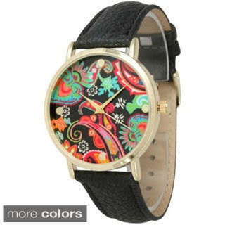Olivia Pratt Women's 13369 Abstract Paisley Leather Watch