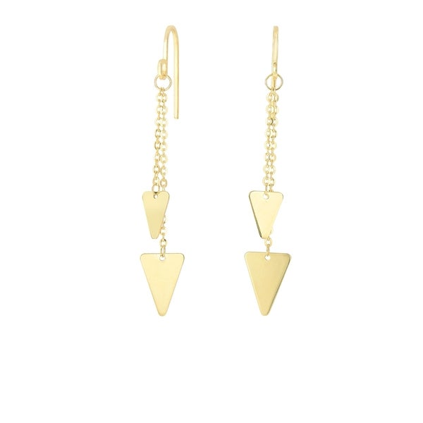 14k Yellow Gold Earrings with Dangling Triangles