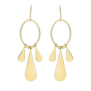 14k Yellow Gold Flat Teardrop Dangling Earrings