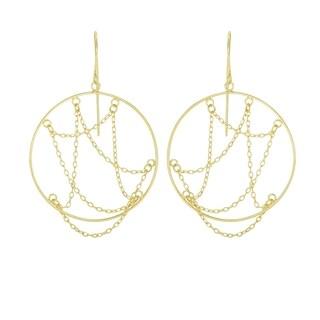 14k Yellow Gold Layered Open Circle Earrings