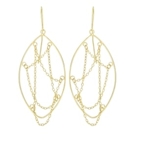 14k Yellow Gold Delicate Marquis Earrings with Chain Strands