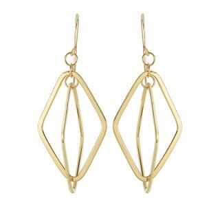 14k Yellow Gold Diamond-shaped Delicate Earrings