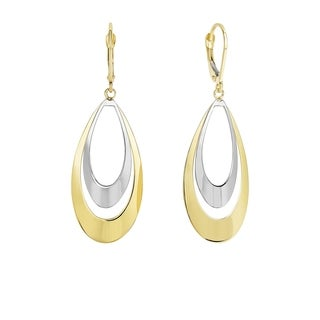14k Yellow and White Gold Concentric Tear Drops Earrings