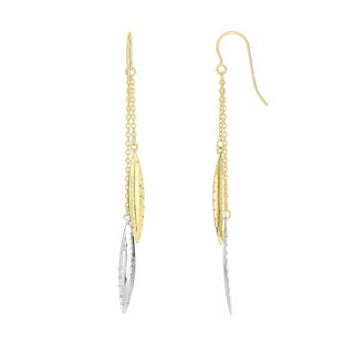 14k Yellow and White Gold Double Strand Dangling Earrings