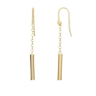 14k Yellow Gold Fancy Drop Tube Dangling Earrings
