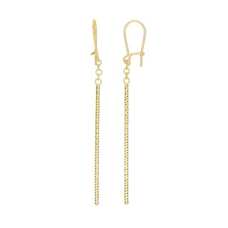 14k Yellow Gold Fancy Drop Bar Earrings