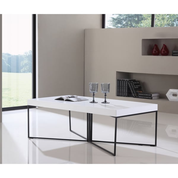 Modern Oval White High Gloss Glossy Lacquer Coffee Table: Shop B-Modern Mixer High-Gloss White And Black Steel