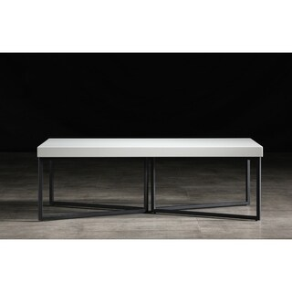 B-Modern Mixer High-Gloss White and Black Steel Coffee Table