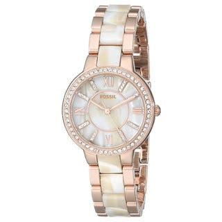 Fossil Women's Virginia Diamond Shimmer Horn and Rose-Tone Gold Stainless Steel Bracelet Watch ES3716|https://ak1.ostkcdn.com/images/products/10366573/P17473778.jpg?impolicy=medium
