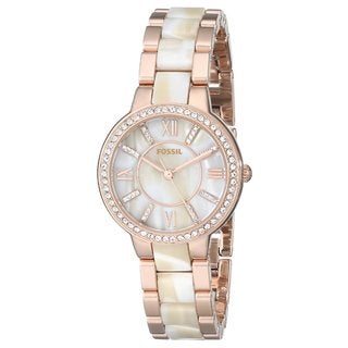 Fossil Women's Virginia Diamond Shimmer Horn and Rose-Tone Gold Stainless Steel Bracelet Watch