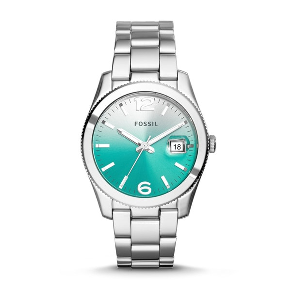 Shop fossil women 39 s perfect boyfriend green gradient dial stainless steel watch free shipping for Gradient dial watch