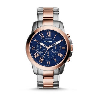 Fossil Men's Grant Blue Dial Two-Tone Stainless Steel Chronograph Watch