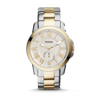 Fossil Men's Grant Multi-Function Gold Dial Two-Tone Stainless Steel Bracelet Watch FS5026
