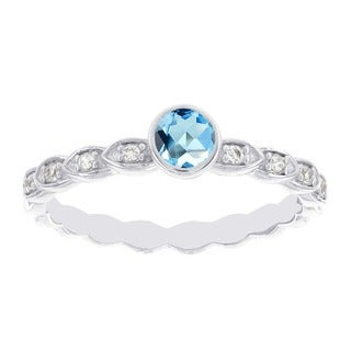 H Star 14k White Gold Blue Topaz Diamond Accent Stackable Ring