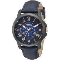 Fossil Men's Grant Chronograph Two-Tone Dial Blue Leather Watch FS5061