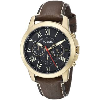 Fossil Men's Grant Chronograph Black Dial Brown Leather Watch FS5062