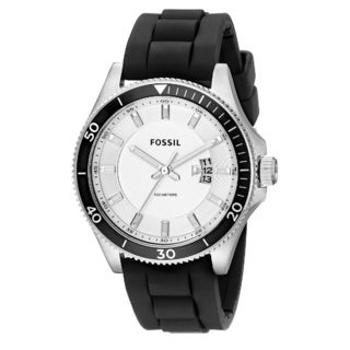 Fossil Men's Wakefield Quartz Silver Dial Black Silicone Watch FS5070
