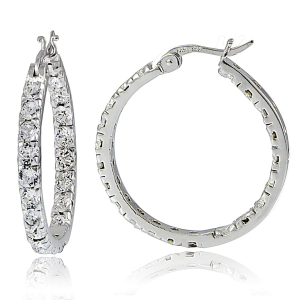Crystal Ice Sterling Silver Swarovski Elements Inside Out Large Hoop Earrings