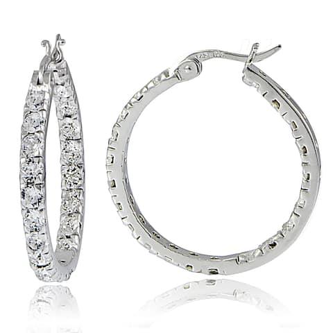 Crystal Ice Sterling Silver Swarovski Elements Inside-Out Large Hoop Earrings