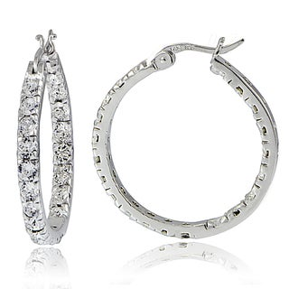 Crystal Ice Sterling Silver Swarovski Elements Inside-Out Large Hoop Earrings