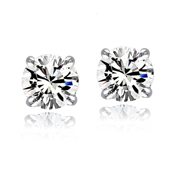 Crystal Ice Sterling Silver 3mm Swarovski Elements Round Stud Earrings
