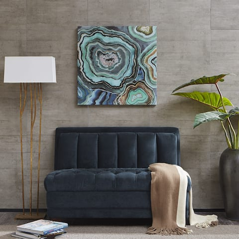 "CJ Swanson's ""Madison Park Aqua Agate"" Gel Coat Printed Canvas Wall Art"