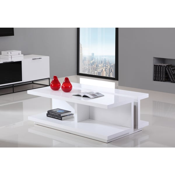 B Modern Dj White High Gloss And Stainless Steel Modern Coffee Table Free Shipping Today