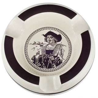 Columbus White and Brown Three Lip Ceramic Patio Cigar Ashtray