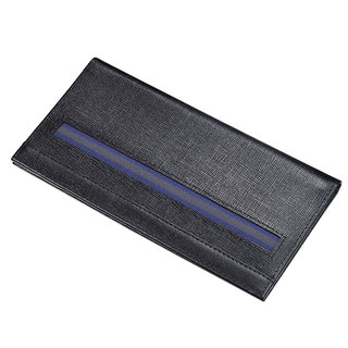 Caseti Hamond Ribbed Black Leather Men's Long Wallet