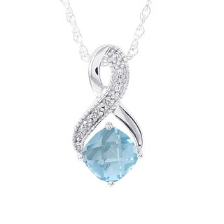 H Star 14k White Gold Blue Topaz and Diamond Accent Necklace (H-I, I1-I2)