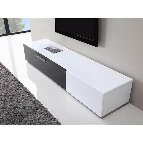 shop b modern producer white black modern tv stand with ir glass free shipping today. Black Bedroom Furniture Sets. Home Design Ideas