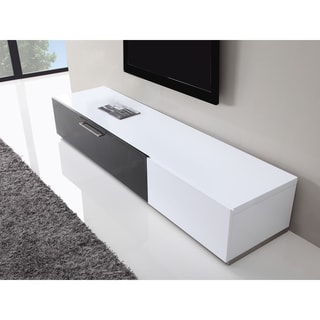 B-Modern Producer White/ Black Modern TV Stand with IR Glass