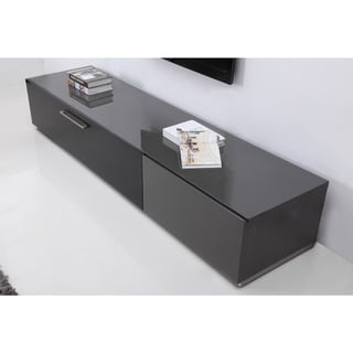 Link to B-Modern Producer Grey/ Black/ Steel Modern TV Stand with IR Glass Similar Items in Entertainment Units