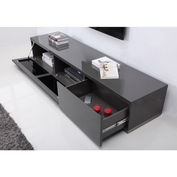 B Modern Producer Grey  Black  Steel Modern TV Stand with IR Glass   Free  Shipping Today   Overstock com   17473910. B Modern Producer Grey  Black  Steel Modern TV Stand with IR Glass