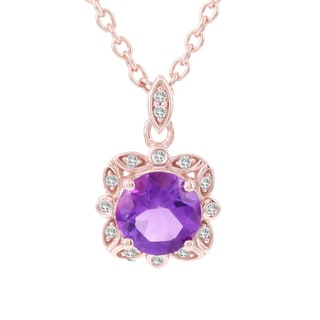 H Star 14k Rose Gold Amethyst and Diamond Accent Necklace (H-I, I1-I2)