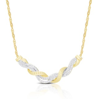 Finesque Gold Over Sterling Silver 1 5 Ct TDW Diamond Twist Necklace