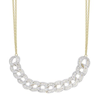 Finesque Gold or Silver Overlay 1 Ct TDW Diamond Link Necklace