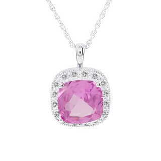 H Star 14k White Gold Created Pink Sapphire and 1/6ct TDW Diamond Necklace (I-J, I2-I3)