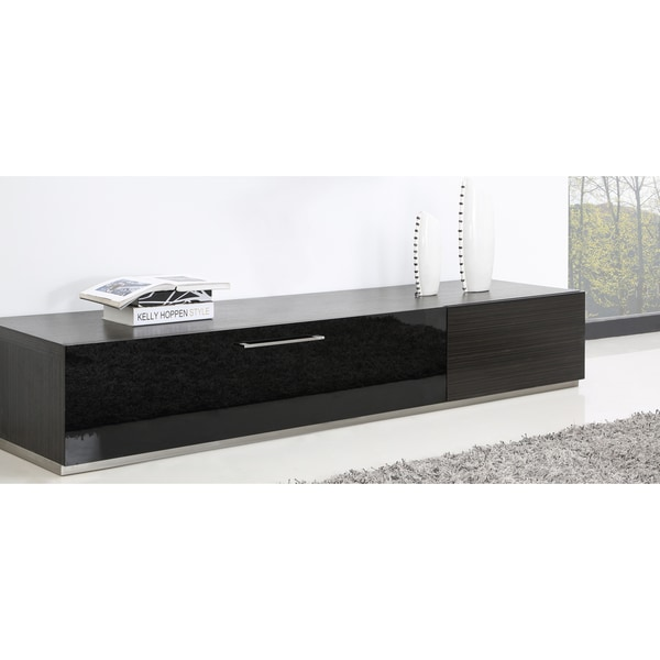 B Modern Producer Grey Ebony/ Black/ Steel Modern TV Stand With IR Glass