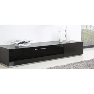 B-Modern Producer Grey Ebony/ Black/ Steel Modern TV Stand with IR Glass