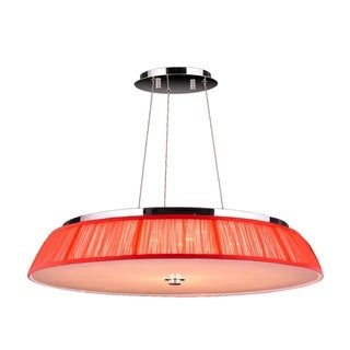 Euro Style 21-light Chrome Finish LED Modern Pendant Light with Red String Shade