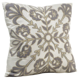 Chauran Illuminata Feather and Down-filled 18-inch Silk Throw Pillow with Felt Applique