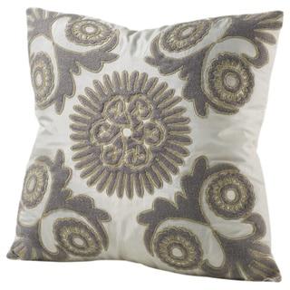 Chauran lluminata Feather and Down-filled 16-inch Silk Throw Pillow with Felt Applique