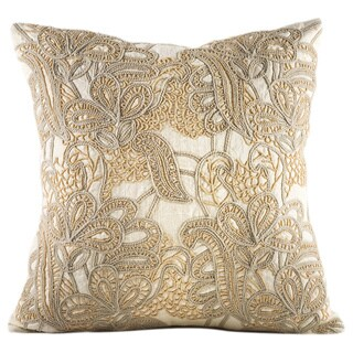 Chauran Alcea Ivory Cotton 18-inch Feather and Down-filled Throw Pillow with Beaded Embroidery