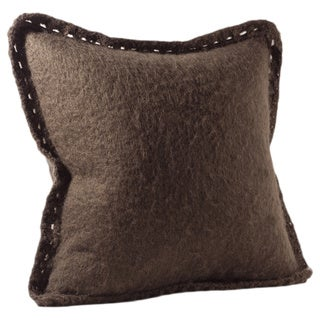 Chauran Karina Espresso Mohair Feather and Down-filled 20-inch Throw Pillow with Crochet Border