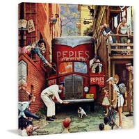 """Marmont Hill - """"Road Block"""" by Norman Rockwell Painting Print on Canvas - Multi-color"""