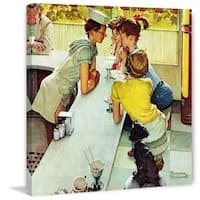 """Marmont Hill - """"Soda Jerk"""" by Norman Rockwell Painting Print on Canvas - Multi-color"""