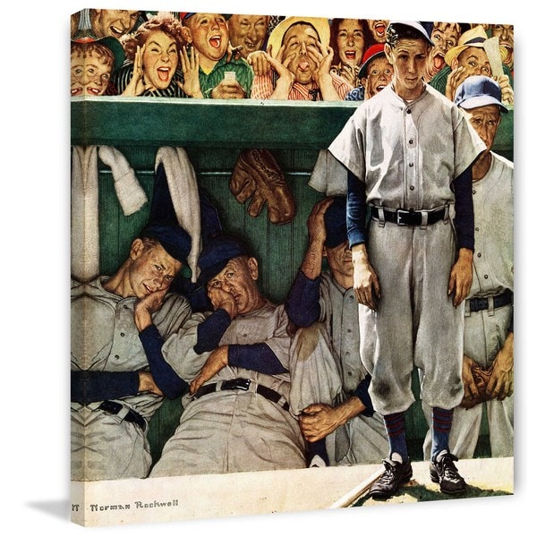 """Marmont Hill - """"The Dugout"""" by Norman Rockwell Painting Print on Canvas"""