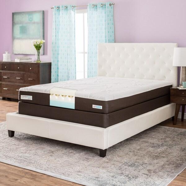 ComforPedic from Beautyrest 8-inch Queen-size Gel Memory Foam Mattress Set - Brown/White