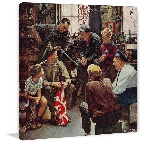 "Marmont Hill - ""Homecoming Marine"" by Norman Rockwell Painting Print on Canvas"